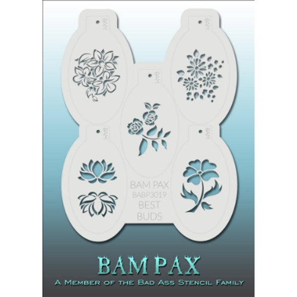 BAM PAX Stencil Sheet - BABP3019 - Best Buds contains 5 related stencil designs in flowers and buds design theme. Designs in this sheet are great for birthday parties and other events. They are perfect for creating a variety of body and face painting designs quickly and easily. Each stencil is approximately 5