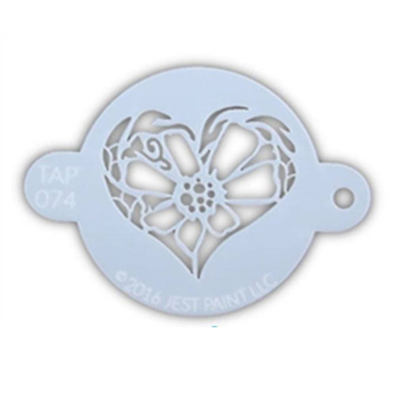 TAP Face Painting Stencil - Flower Heart (074)