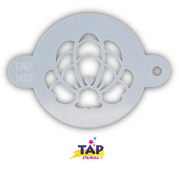 TAP Face Painting Stencil - Mermaid Crown Clam Shell (102)