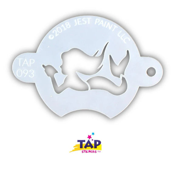 TAP Face Painting Stencil - Mermaid With Shell (093)