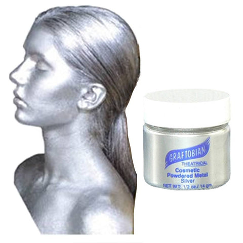 Graftobian Cosmetic Powdered Metal - Metallic Silver (0.5 oz)