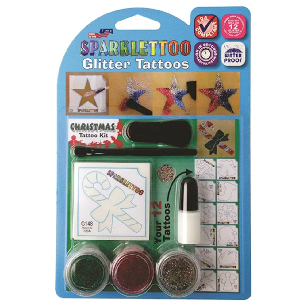 Ruby Red Glitter Tattoo Kit - Christmas