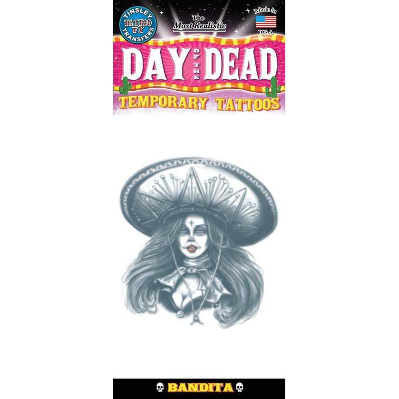 Tinsley Transfers Day Of The Dead Temporary Tattoo FX - Bandita
