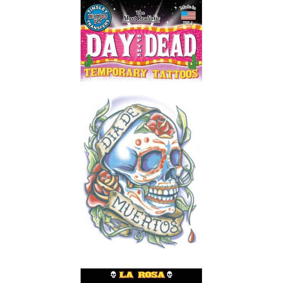 Tinsley Transfers Day Of The Dead Temporary Tattoo FX - La Rosa