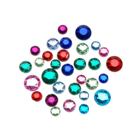 Acrylic Rhinestone Round Blings Assorted (8 - 11mm, 1 lb/pack)