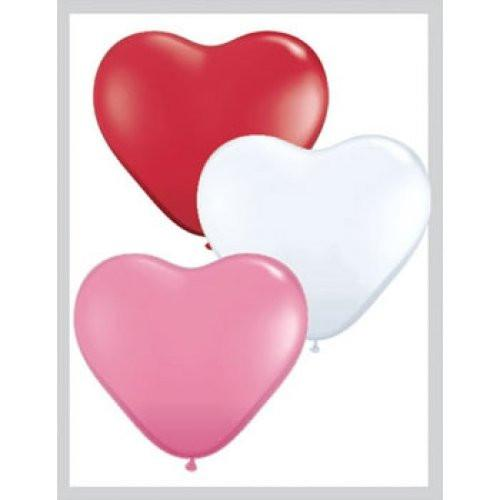 "Heart Shaped Balloons - 6"" (100/bag)"