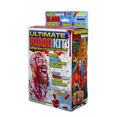 Ultimate Blood® Kit contains everything needed for simulating a variety of blood effects such as special effects, medical simulation, moulage or other theatrical blood effects. Ultimate Special FX blood has the consistency and appearance of real blood. Viscosity and color of blood effects can be adjusted by using included color tints. Ultimate Blood® dries to give a wet blood finish and flexes with movement without cracking. Ultimate Blood® Kit is lab certified and safe to use on skin. This high