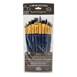 Royal Brush - Royal Soft Black Taklon Value Set #9302 (12 pack)