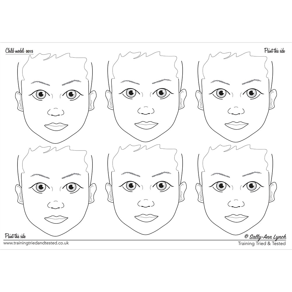 Sally-Ann Lynch Face Painting Practice Board - Child Model 0021- 6 Faces (A2)