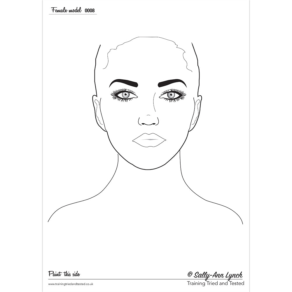 Sally-Ann Lynch Face Painting Practice Board - Female 0008 (A3)