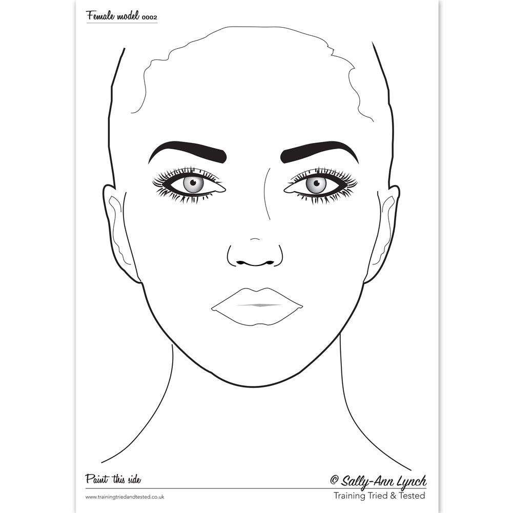 Sally-Ann Lynch Face Painting Practice Board - Female Face 0016 (A4)