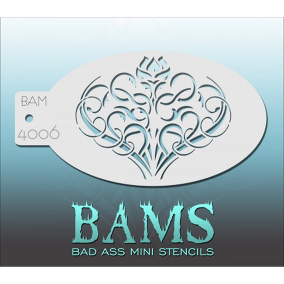 Bad Ass Mini Stencils - Flower Swirls - BAM4006