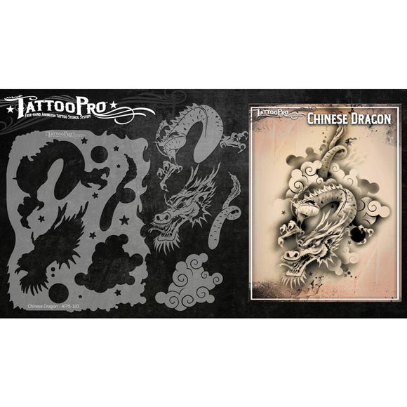 Tattoo Pro Series 1  Stencils - Chinese Dragon