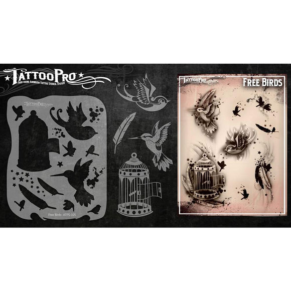 Tattoo Pro Series 1 Stencils - Free Birds