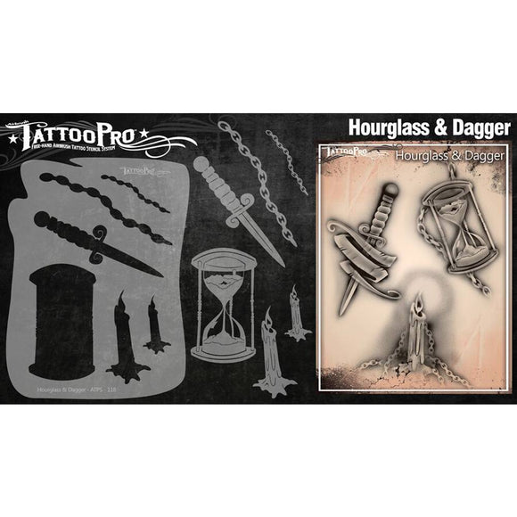 Tattoo Pro Series 2 Stencils - Hourglass & Dagger