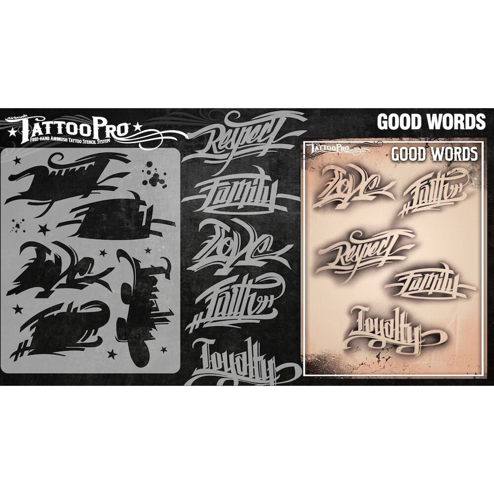 Tattoo Pro Series 3 Stencils - Good Words