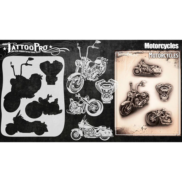 Tattoo Pro Series 4 Stencils - Motorcycles