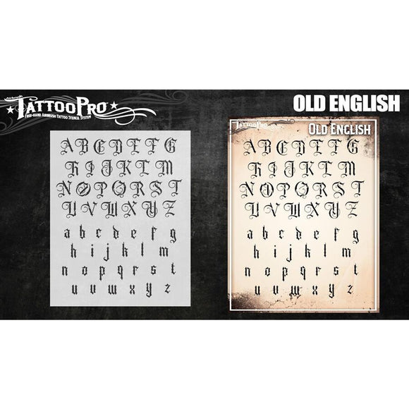 Tattoo Pro Font Stencils - Old English