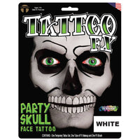 Tinsley Transfers Party Skull Face Tattoo - White