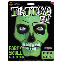 Tinsley Transfers Party Skull Face Tattoo - Glow In The Dark