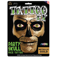 Tinsley Transfers Party Skull Face Tattoo - Gold
