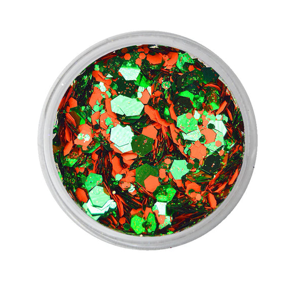 VIVID Glitter Triumphant - Orange & Green Chunky Glitter Mix (10 gm)