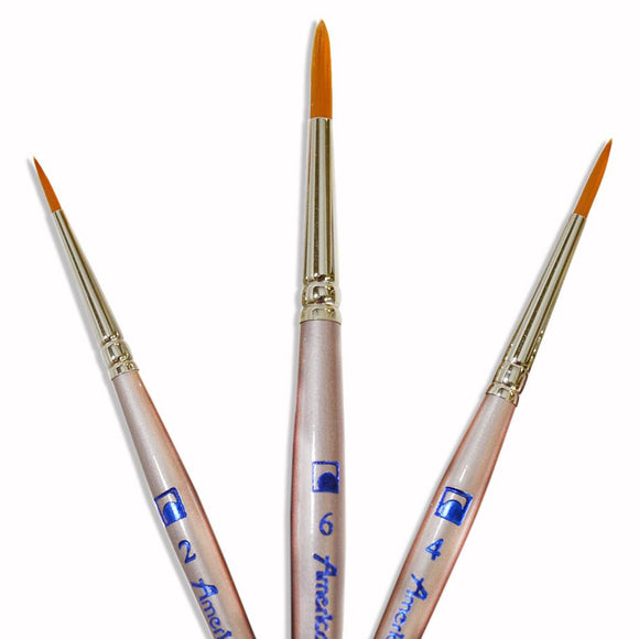 Loew-Cornell American Painter Short Handle 3 Round Brush Set (2, 4, 6)