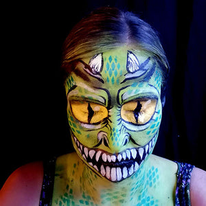 Green Big Eyed Monster Makeup by Caroline Healy