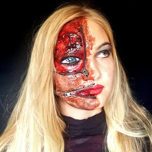 Half Face Zipper Halloween Makeup by Caroline