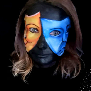 Emotions: Happy and Sad Mask Makeup Illusion by Caroline Healy
