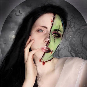 Half Face Bride of Frankenstein Makeup by Grimm