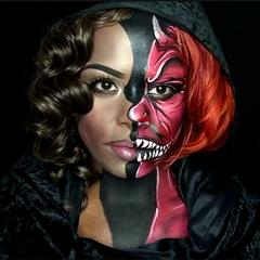 Illusion Devil Half Face Makeup Video by zuri Fx