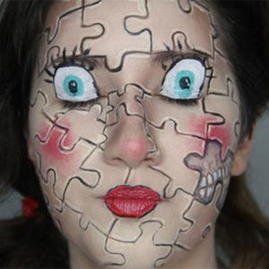 Spooky Puzzle Doll Makeup by PTBarpun