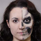 Half Face Skull Halloween Makeup
