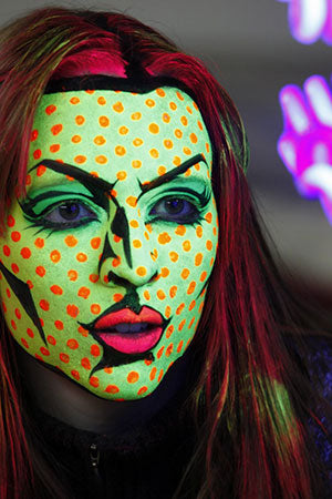 Blacklight Pop Art Halloween Makeup Daylight