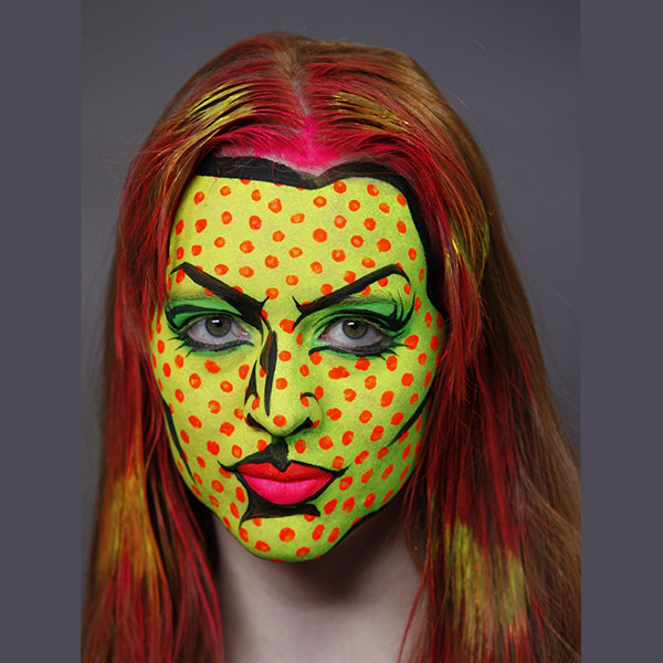 Blacklight Pop Art Halloween Makeup 8-9