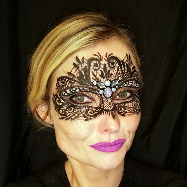 Black Lace New Years Eve Mask Makeup by Caroline
