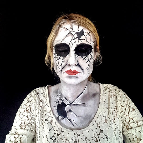 Cracked Porcelain Doll Face Paint Final