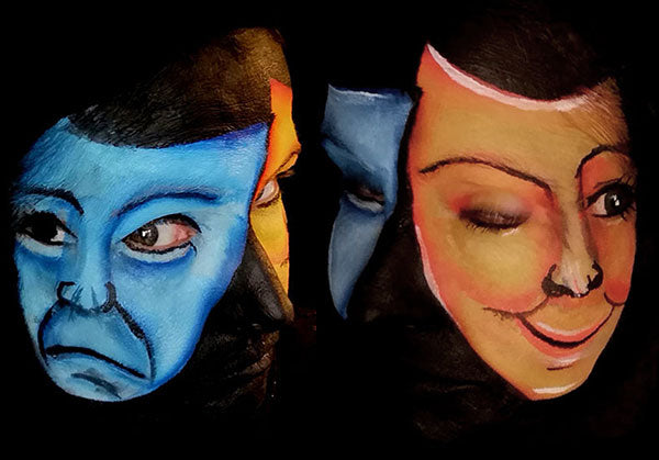 Emotions: Happy and Sad Mask Makeup Illusion