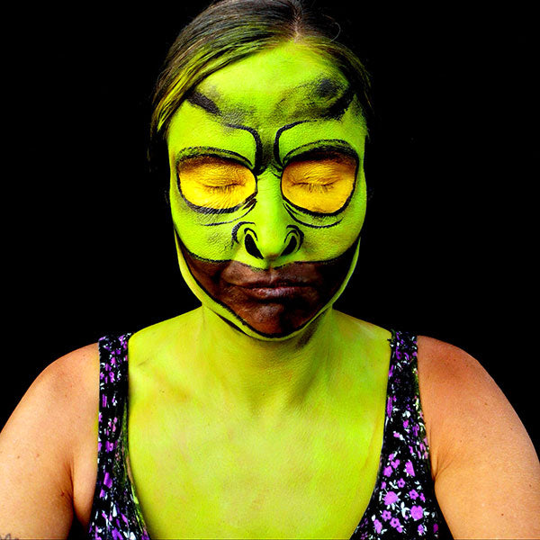 Green Big Eyed Monster Makeup Step 2