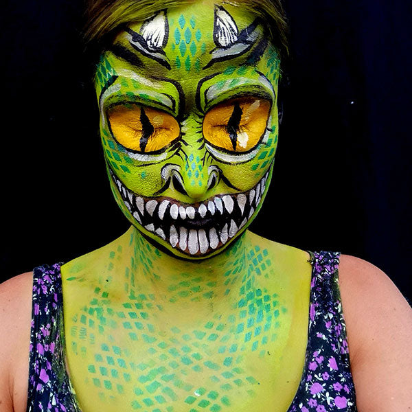 Green Big Eyed Monster Makeup Step 4
