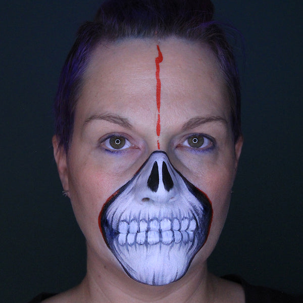 Halloween Skull Face Paint Tutorial by Stacey Perry