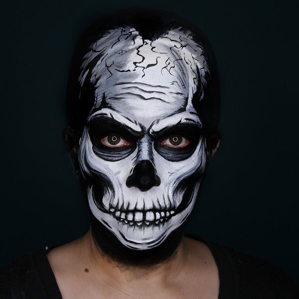 IT Skull Face Paint Tutorial by Stacey Perry