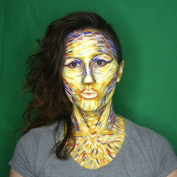 Happiness and Sadness Starry Night Style Facepaint