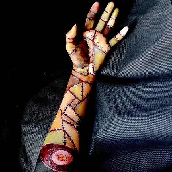 Sewn Together Severed Zombie Arm FX Makeup by Caroline Healy