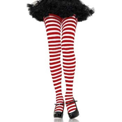 Leg Avenue Adult Striped Tights - Red/White
