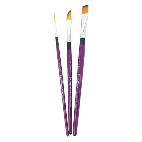"Blazin 3 Piece Brush Set by Marcela Bustamante - Liner #1, Flat 1/4"", Dagger 1/4"""