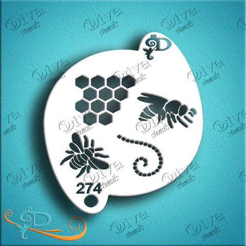Diva Face Paint Stencil - Bees with Elements