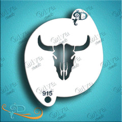 Diva Face Paint Stencil - Cow Skull
