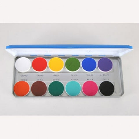 Kryolan 12 Color Vivid Aquacolor Face Paint Palette